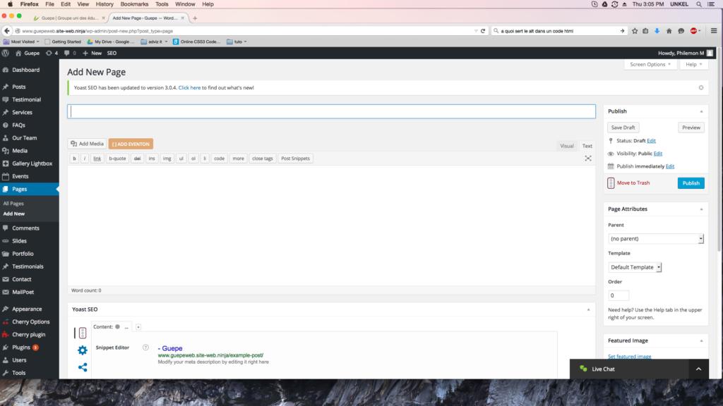 capture d'écran de la page ajouter une nouvelle page