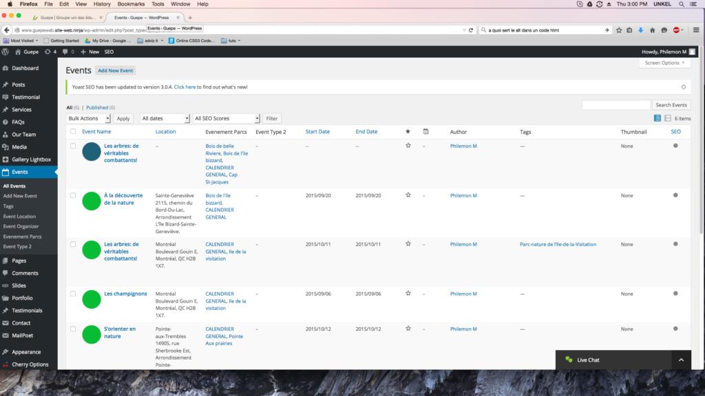 capture d'écran de la page event de WordPress