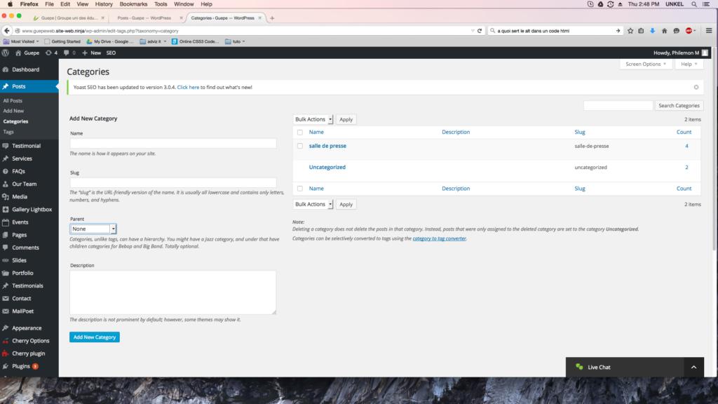 capture d'écran de la page catégories