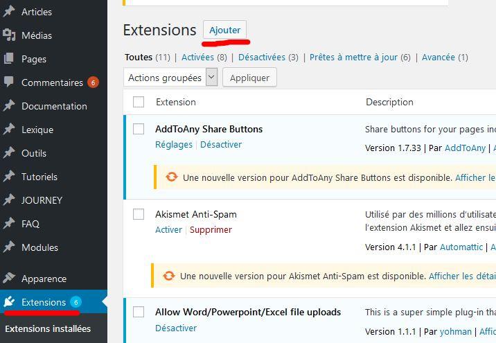 capture d'écran de la page extensions de WordPress