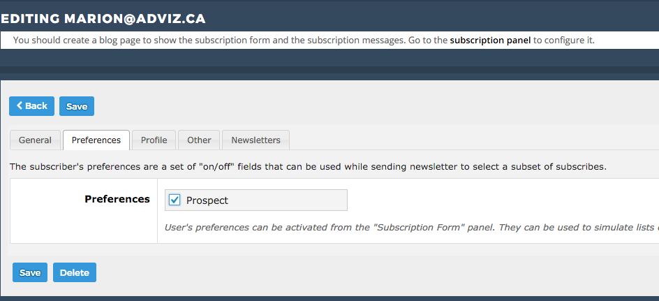 capture d'écran de la page assigner à une liste du plugin newsletter