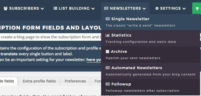capture d'écran de la page créer une infolettre du plugin newsletter
