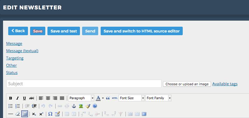 capture d'écran de la page éditer une newsletter