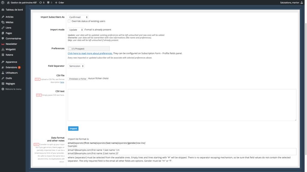 capture d'écran de la page importer contact du plugin newsletter
