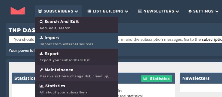 capture d'écran de la page gestion des clients du plugin newsletter
