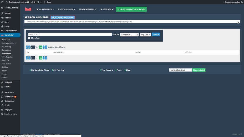 capture d'écran de la page abonné du plugin newsletter
