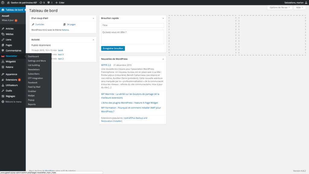 capture d'écran du tableau de bord WordPress