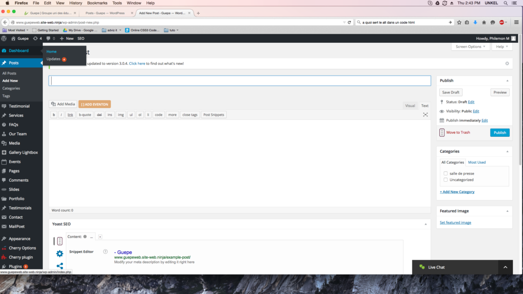 capture d'écran de la page ajouter un article