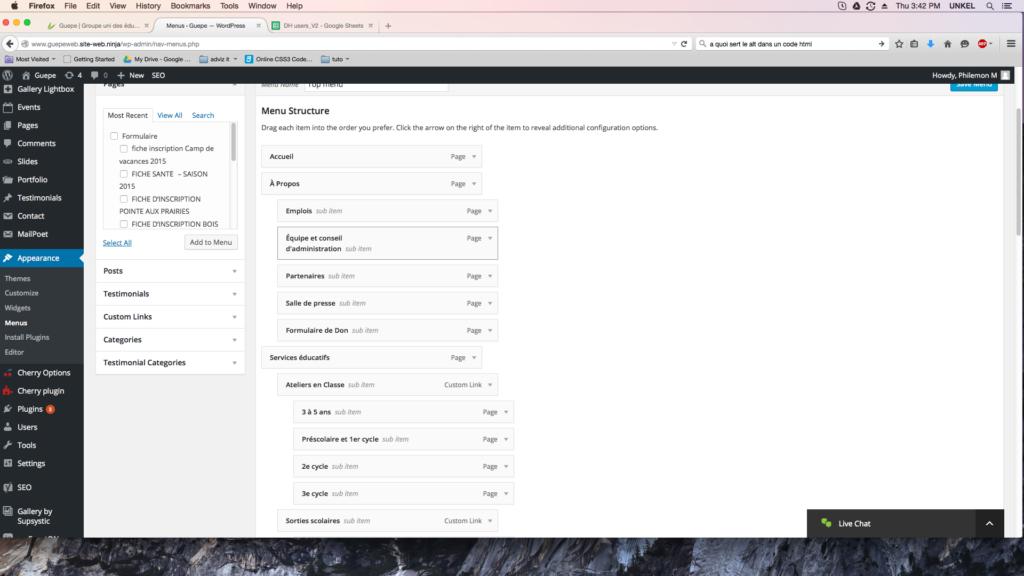 capture d'écran de la page menus de WordPress