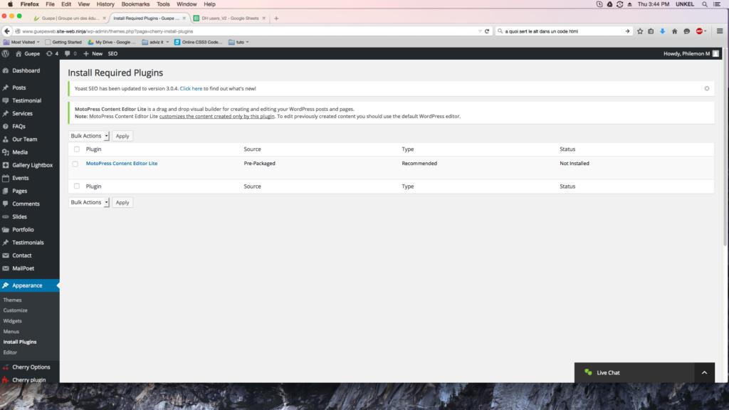 capture d'écran de la page install plugins de WordPress