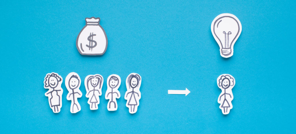 Crowdfunding concept. Paper people with sack of money helping man to involve his idea, panorama, free space